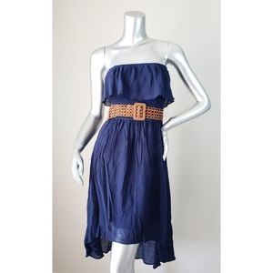 iZ Byer Blue Strapless Dress w/ Belt